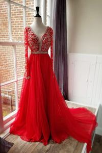 Long Sleeve Plunging V-Neck Red Chiffon Sweep Train Prom Dress With Sequins