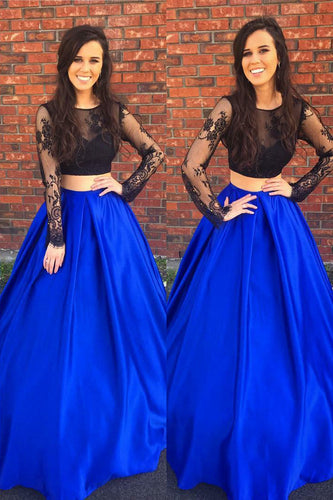 Long Sleeve Round Neck Two-Piece Floor-Length Satin Prom Dress With Illusion Lace Bodice