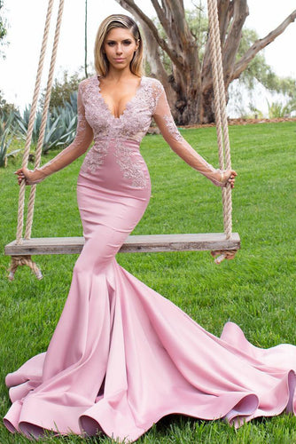 Long-Sleeved Pink Mermaid Silhouette Long Dress With Lace Appliques And A Ruffled Train