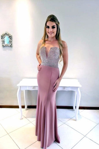 Luxury Beading Strapless Sleeveless Open Back Floor-Length Fit-And-Flare Prom Dress