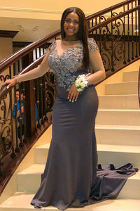 Mermaid Backless Long Sleeve Sheer Neck Plus Size Prom Dress With Lace Applique