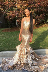 Mermaid Jewel Neck Open Back Court Train Sequin Prom Dress With Ruffles