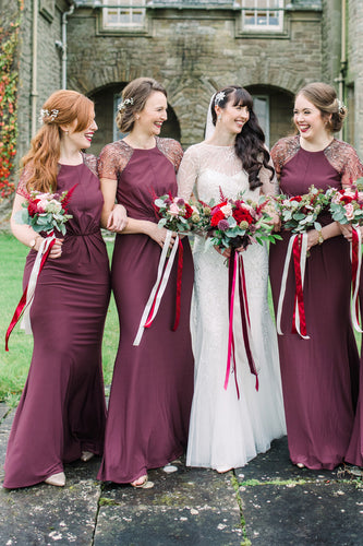 Mermaid Jewel Neck Short Sleeve Floor-Length Grape Satin Bridesmaid Dress With Sequins