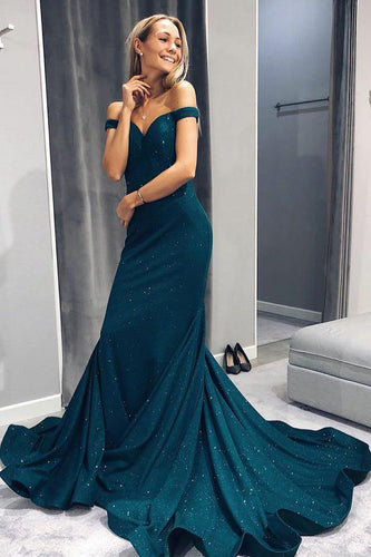 Mermaid Off-The-Shoulder Court Train Prom Dress With Sequins