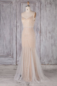 Mermaid Spaghetti Strap Cowl Back Backless Tulle Bridesmaid Dress With Sequins