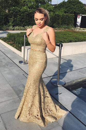 Mermaid Strap V-Neck Two-Piece Gold Lace Prom Dress With Sweep Train