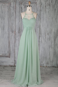 Mint Green Chiffon Jewel Neck Floor-Length A-Line Bridesmaid Dress With Applique