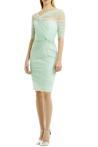 Mint Green Tulle 1/2 Sleeve Asymmetrical Neckline Sheath Knee Length Bridesmaid Dress