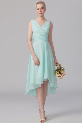 Mint Hi-Lo Knee-Length Ruched Empire Bridesmaid Dress
