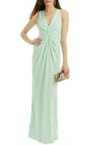 Mint Ruched Deep V Neckline Floor Length Bridesmaid Dress With Back Slit