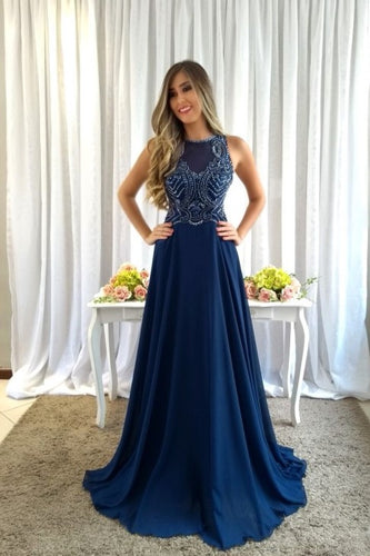 Navy Blue Beading Rhinestone Bateau Neck Sleeveless Zipper-Up Long Chiffon Prom Dress