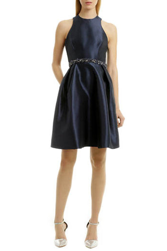 Navy Jewel Neck Criss Cross Back Knee Length Bridesmaid Dress With Beaded Belt