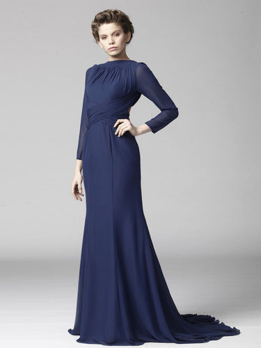 Navy Long-Sleeved Bateau Open-Back Flattering Long Dress With Sweep Train