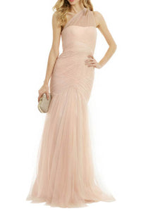 Nude Sheer Net Single Shoulder Pleated Layered Trumpet Bridesmaid Dress
