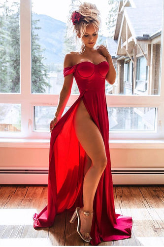 Sexy Off Shoulder Long Solid Red Satin High Slit Prom Dress with Sweep Train