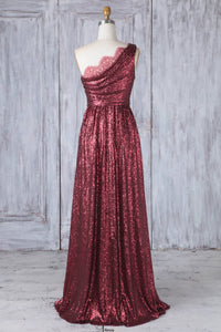 One-Shoulder Burgundy Sequin Floor-Length Bridesmaid Dress With Lace