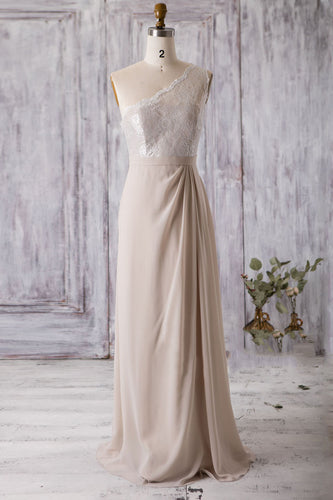 One-Shoulder Lace Empire Chiffon Bridesmaid Dress