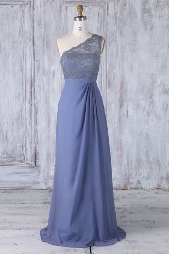 One-Shoulder Sweep Train Chiffon Bridesmaid Dress With Lace Illusion Bodice