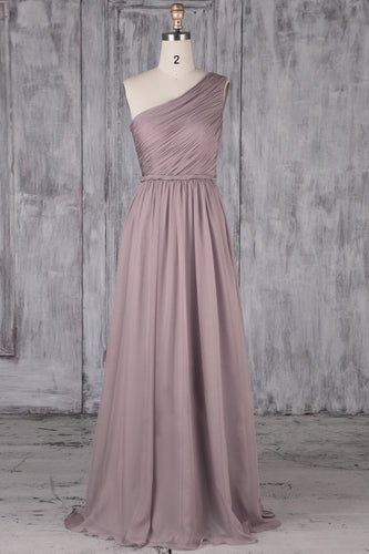 One-Shoulder Wisteria Chiffon Sweep Train Bridesmaid Dress With Ruched Bodice