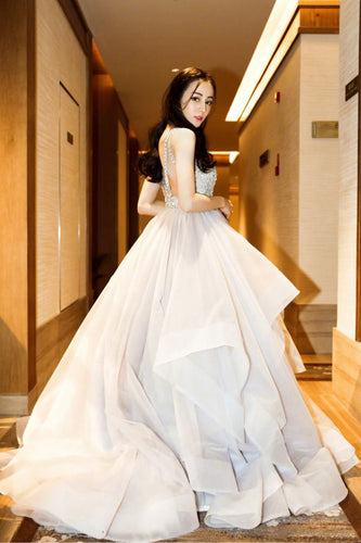 Organza Jewel Neck Ball Gown Wedding Dress With Beaded Bodice