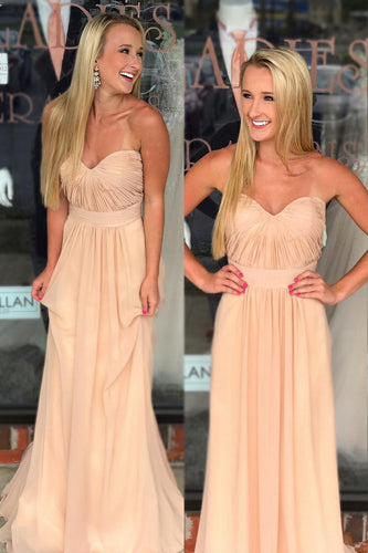 Pearl Pink Chiffon Sweetheart Strapless Formal Dress With Ruched Bodice