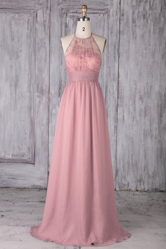 Pink Chiffon Halter Sweep Train Bridesmaid Dress With Illusion Lace Bodice