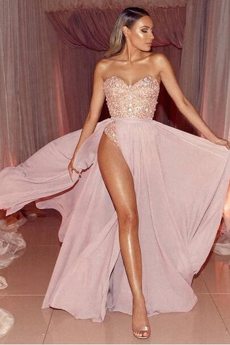 Pink Chiffon Strapless Sweetheart Floor-Length Alluring Prom Dress With Thigh Split