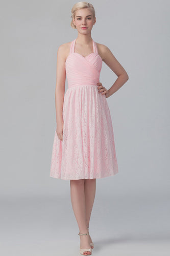 Pink Halter Sweetheart Ruched Empire Lace Knee-Length Bridesmaid Dress