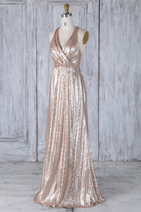 Pink Sequin V-Neck Sweep Train Bridesmaid Dress With Lace Illusion Back