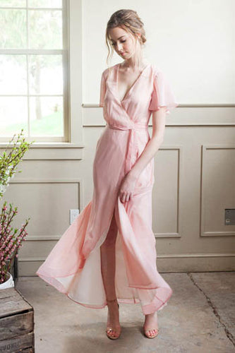 Pink Short Sleeve Surplice Neckline A-Line High-Low Ankle Length Bridesmaid Dress