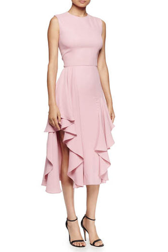 Pink Sleeveless Jewel Neckline A-line Tea Length Bridesmaid Dress