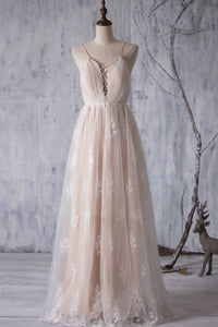 Pink Spaghetti Strap Open Back Tulle Bridesmaid Dress With Lace Applique