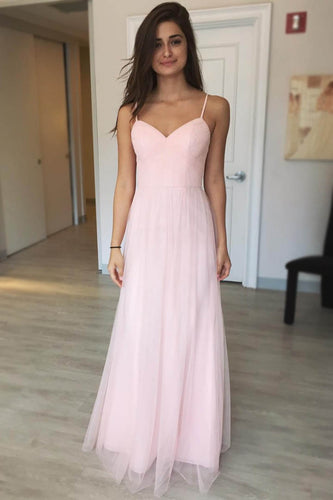 Pink Spaghetti-Strapped Sweetheart Column Tulle Long Dress