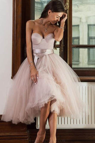 Pink Strapless Sweetheart Tulle A-line Evening Prom Dress with Designer Belt