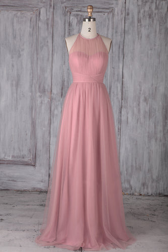 Pink Tulle Halter A-Line Sweep Train Bridesmaid Dress
