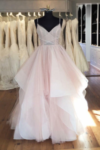 Pink V-Neck Spaghetti-Strapped Ruffled Tiered Wedding Dress