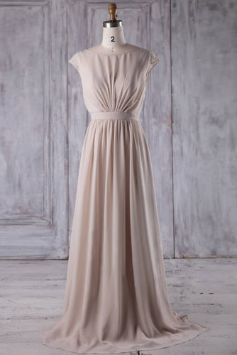 Plain Chiffon Jewel Neck Cap Sleeve Sweep Train Bridesmaid Dress