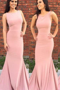 Plain Jewel Neck Sweep Train Mermaid Prom Dress