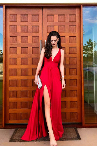 Elegant Plunging Neck Sleeveless Floor-Length Red Satin Prom Dress with Sexy Slit