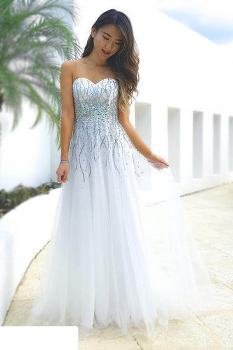 Pure White Light-Weight Tulle Long Dress With Voluminous Bead Lines