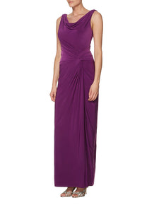 Purple Draped Scoop-Neck Side-Knot Cowl-Back Bridesmaid Dress