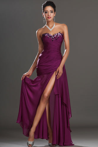 Purple Strapless Beaded Neckline Side Draped Long Dress With Side Slit