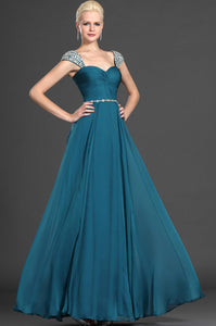 Queen Anne Beaded Neckline Ruched A-Line Chiffon Long Dress With A Sparkling Belt