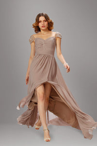Queen Anne Cap-Sleeved Ruched Empire Column Long Dress With Side Slit