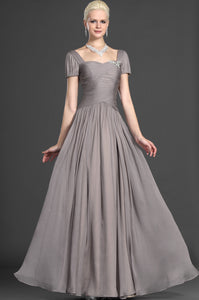 Queen Anne Neckline Ruched Gray Floor-Length Chiffon Dress
