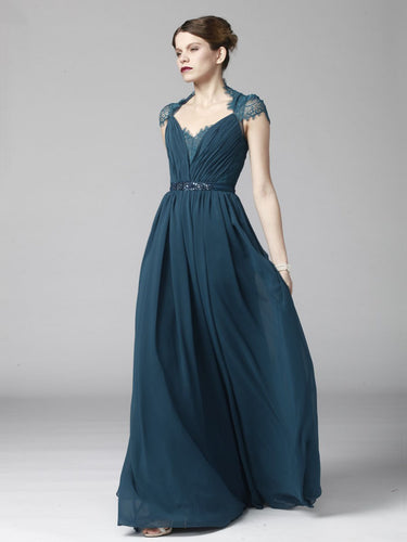 Queen Anne Sheer Illusion Column Floor-Length Long Dress With Waist Belt