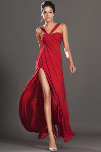 Red Halter Empire Column Long Dress With A Thigh-High Slit