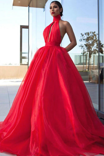 Red High-Neck Ball Gown With A Front Cut-Out Open Back And A Flaring Full Skirt