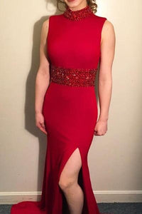 Red High-Neck Sheath Satin Empire Long Dress With Beautiful Bead-Work And Side Slit