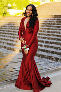 Red Long-Sleeved Mermaid Long Dress With A Plunging V-Neckline